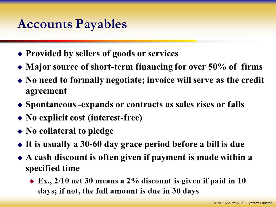 © 2003 McGraw-Hill Ryerson Limited Accounts Payables  Provided by sellers of goods or services  Major source of short-term financing for over 50% of firms  No need to formally negotiate; invoice will serve as the credit agreement  Spontaneous -expands or contracts as sales rises or falls  No explicit cost (interest-free)  No collateral to pledge  It is usually a day grace period before a bill is due  A cash discount is often given if payment is made within a specified time  Ex., 2/10 net 30 means a 2% discount is given if paid in 10 days; if not, the full amount is due in 30 days