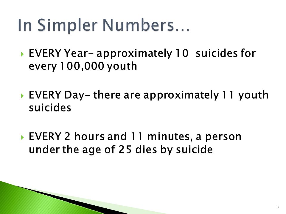 3  EVERY Year- approximately 10 suicides for every 100,000 youth  EVERY Day- there are approximately 11 youth suicides  EVERY 2 hours and 11 minutes, a person under the age of 25 dies by suicide
