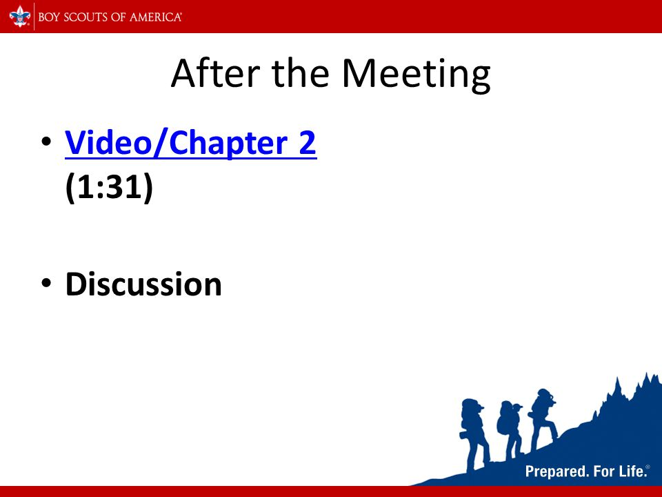 After the Meeting Video/Chapter 2 (1:31) Video/Chapter 2 Discussion