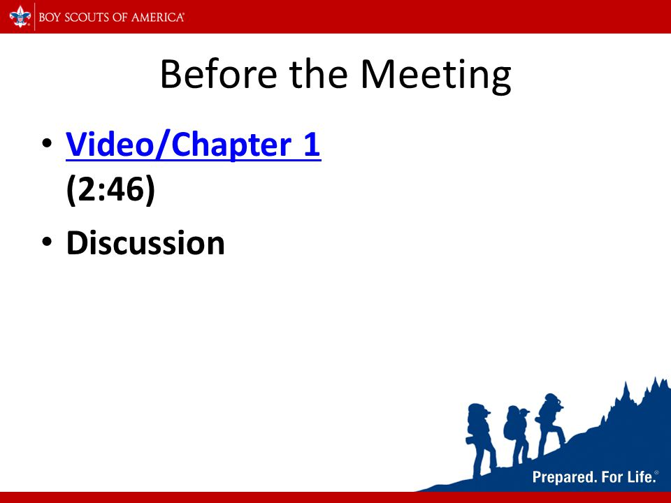 Before the Meeting Video/Chapter 1 (2:46) Video/Chapter 1 Discussion