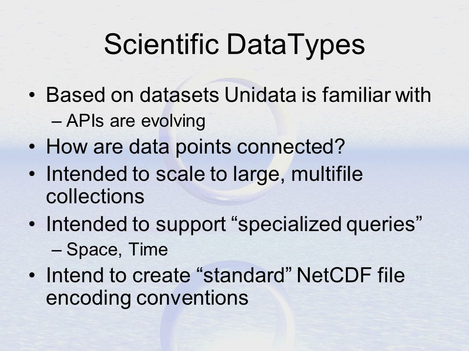 Scientific DataTypes Based on datasets Unidata is familiar with –APIs are evolving How are data points connected.