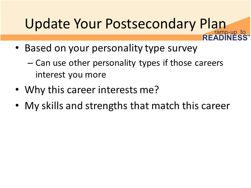 Update Your Postsecondary Plan Based on your personality type survey – Can use other personality types if those careers interest you more Why this career interests me.