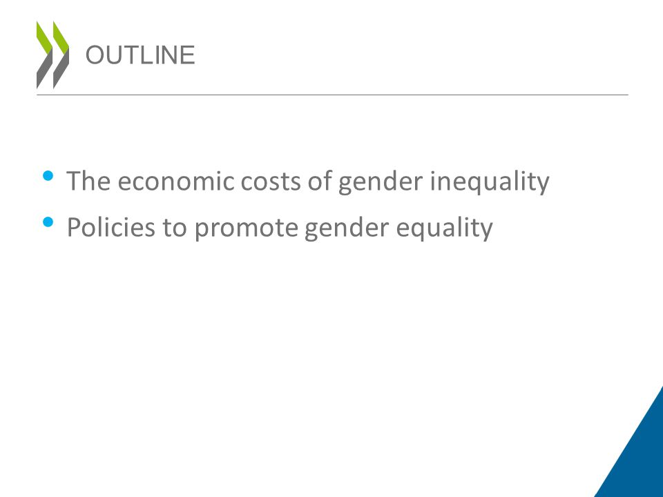 OUTLINE The economic costs of gender inequality Policies to promote gender equality