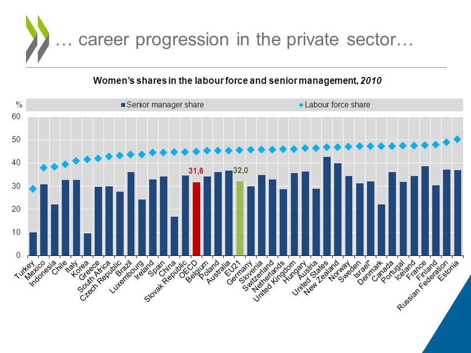 … career progression in the private sector… Women's shares in the labour force and senior management, 2010