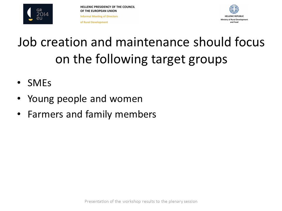 Job creation and maintenance should focus on the following target groups SMEs Young people and women Farmers and family members Presentation of the workshop results to the plenary session