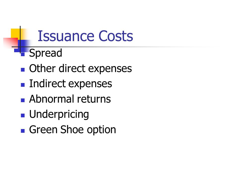 Issuance Costs Spread Other direct expenses Indirect expenses Abnormal returns Underpricing Green Shoe option