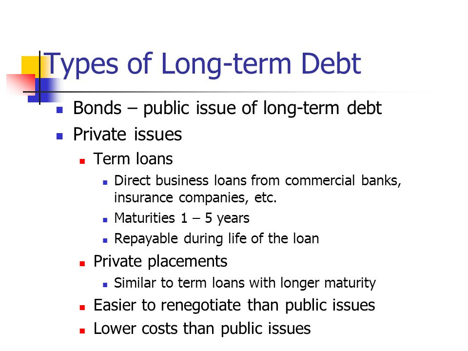 Types of Long-term Debt Bonds – public issue of long-term debt Private issues Term loans Direct business loans from commercial banks, insurance companies, etc.
