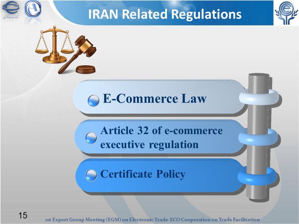 1st Expert Group Meeting (EGM) on Electronic Trade-ECO Cooperation on Trade Facilitation IRAN Related Regulations E-Commerce Law Certificate Policy Article 32 of e-commerce executive regulation 15