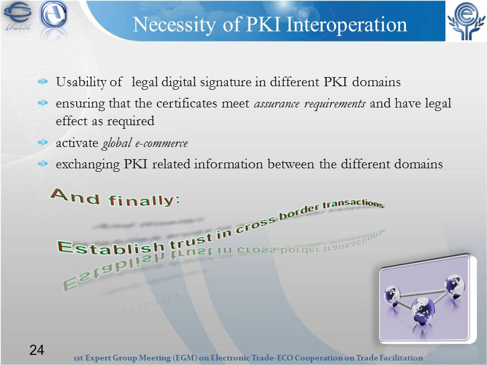 1st Expert Group Meeting (EGM) on Electronic Trade-ECO Cooperation on Trade Facilitation Necessity of PKI Interoperation Usability of legal digital signature in different PKI domains ensuring that the certificates meet assurance requirements and have legal effect as required activate global e-commerce exchanging PKI related information between the different domains 24