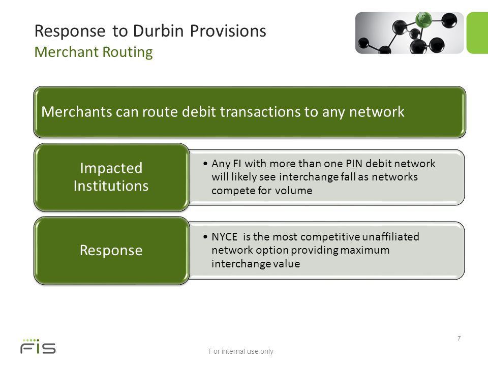 For internal use only 7 Response to Durbin Provisions Merchant Routing Merchants can route debit transactions to any network Any FI with more than one PIN debit network will likely see interchange fall as networks compete for volume Impacted Institutions NYCE is the most competitive unaffiliated network option providing maximum interchange value Response