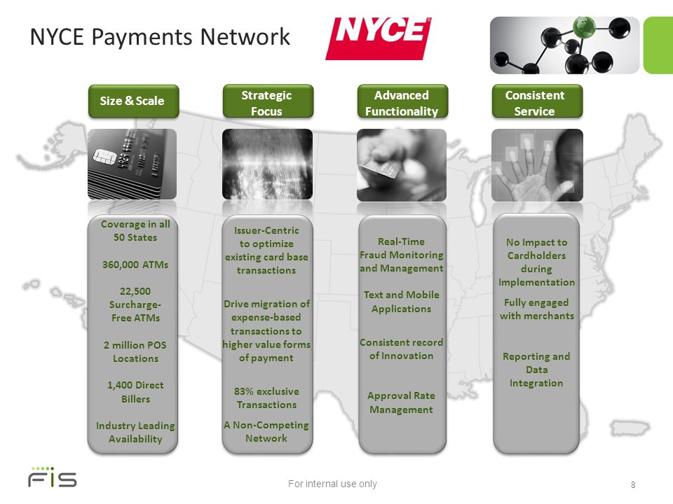 For internal use only NYCE Payments Network Issue the Card Size & Scale Consistent Service Coverage in all 50 States 360,000 ATMs 22,500 Surcharge- Free ATMs 2 million POS Locations 1,400 Direct Billers Industry Leading Availability Issuer-Centric to optimize existing card base transactions Drive migration of expense-based transactions to higher value forms of payment 83% exclusive Transactions A Non-Competing Network Real-Time Fraud Monitoring and Management Text and Mobile Applications Consistent record of Innovation Approval Rate Management No Impact to Cardholders during Implementation Fully engaged with merchants Reporting and Data Integration 8 Strategic Focus Advanced Functionality