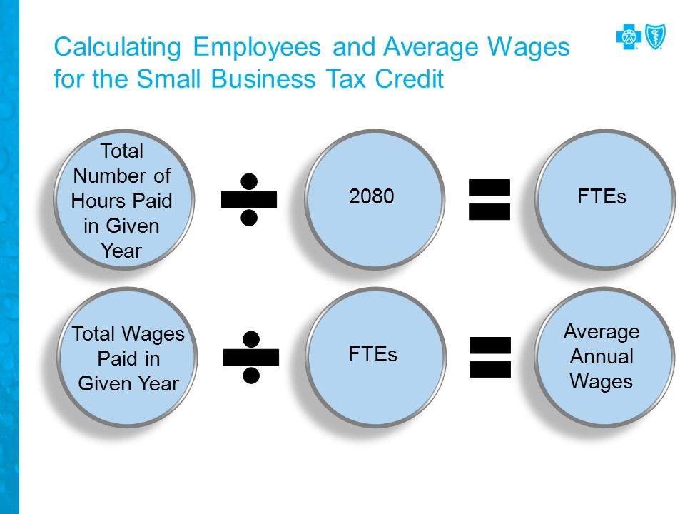Calculating Employees and Average Wages for the Small Business Tax Credit Total Number of Hours Paid in Given Year 2080FTEs Total Wages Paid in Given Year FTEs Average Annual Wages
