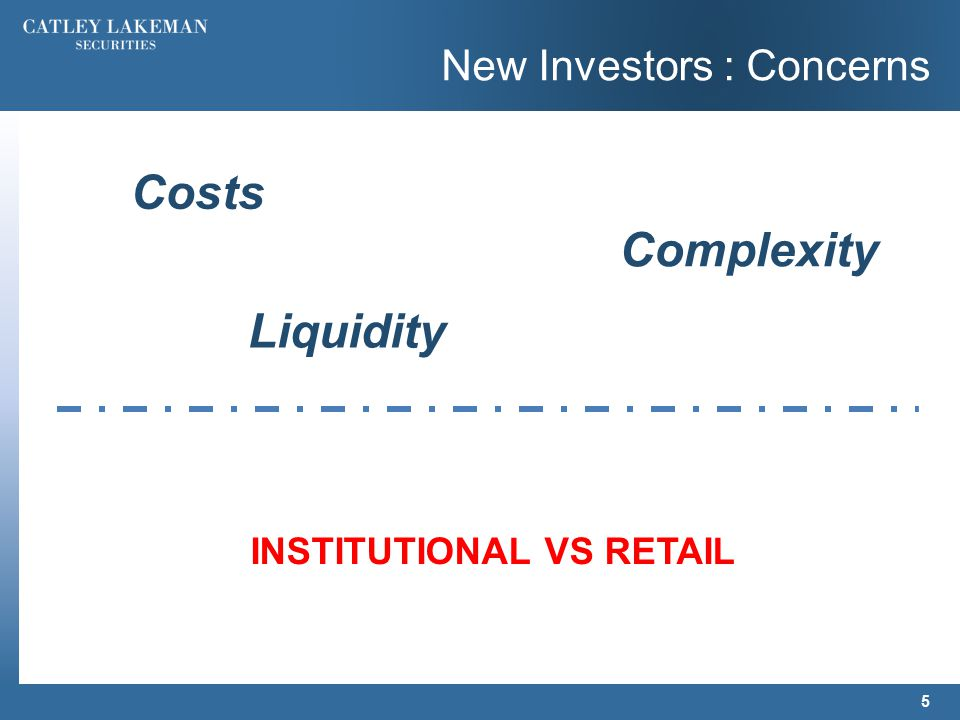 New Investors : Concerns 5 Costs Complexity Liquidity INSTITUTIONAL VS RETAIL