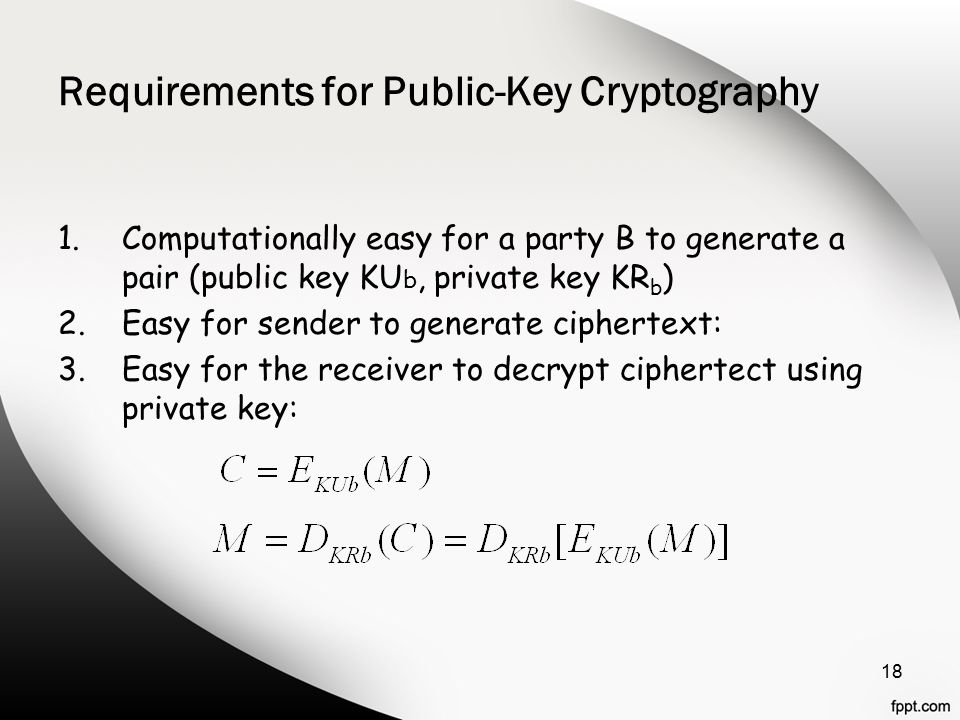 Requirements for Public-Key Cryptography 1.Computationally easy for a party B to generate a pair (public key KU b, private key KR b ) 2.Easy for sender to generate ciphertext: 3.Easy for the receiver to decrypt ciphertect using private key: 18
