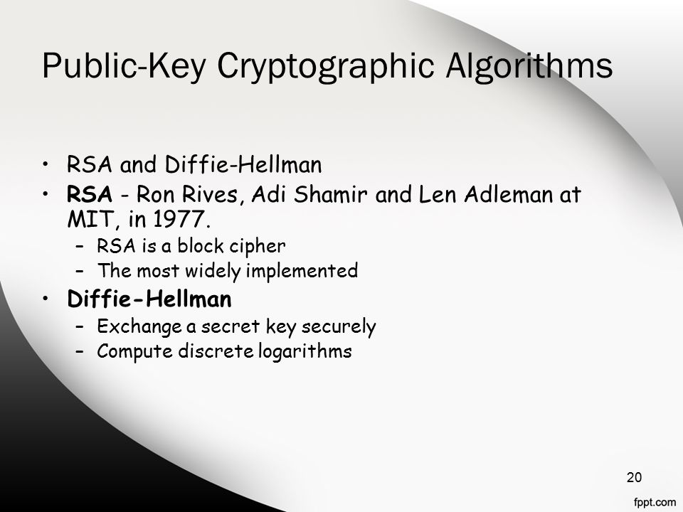 Public-Key Cryptographic Algorithms RSA and Diffie-Hellman RSA - Ron Rives, Adi Shamir and Len Adleman at MIT, in 1977.