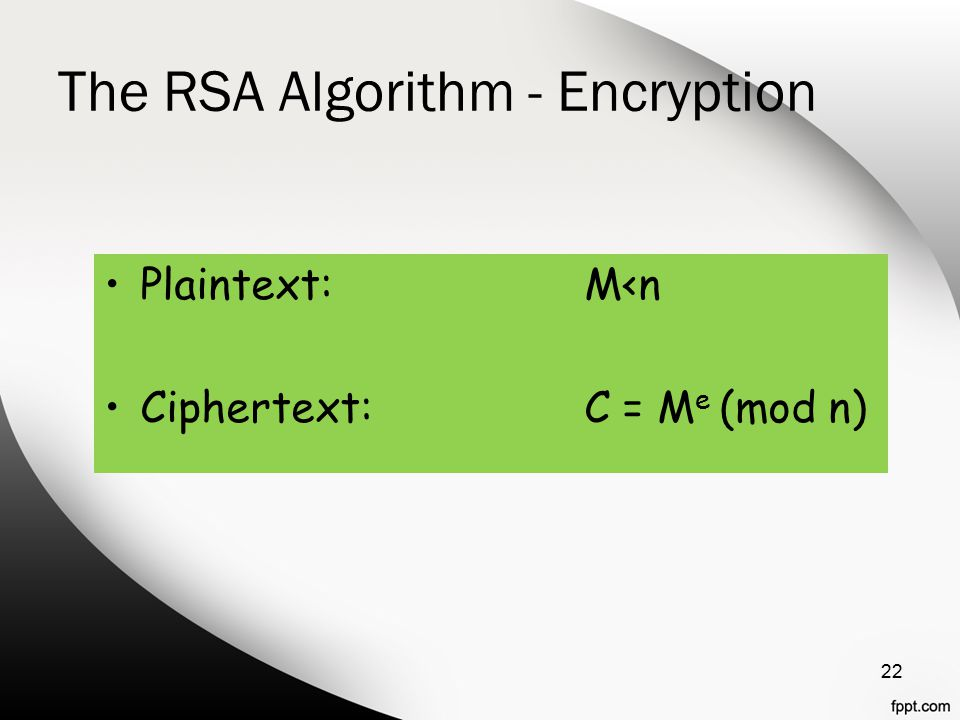The RSA Algorithm - Encryption Plaintext:M<n Ciphertext:C = M e (mod n) 22