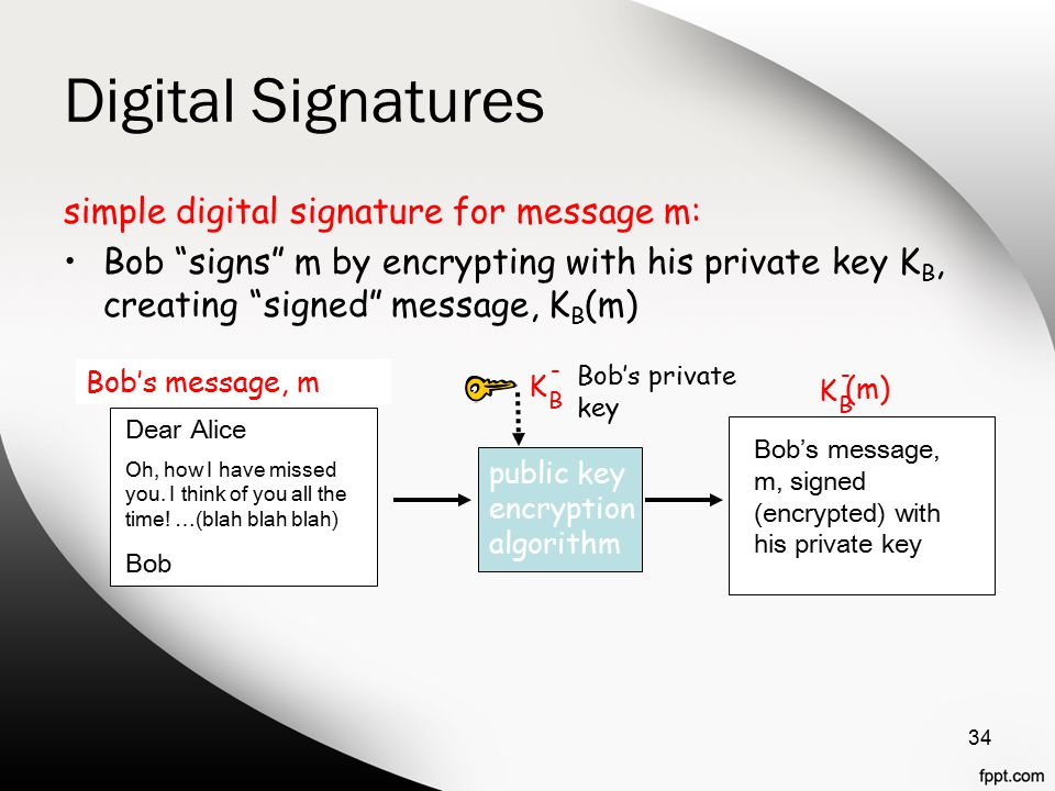 Digital Signatures simple digital signature for message m: Bob signs m by encrypting with his private key K B, creating signed message, K B (m) 34 Dear Alice Oh, how I have missed you.