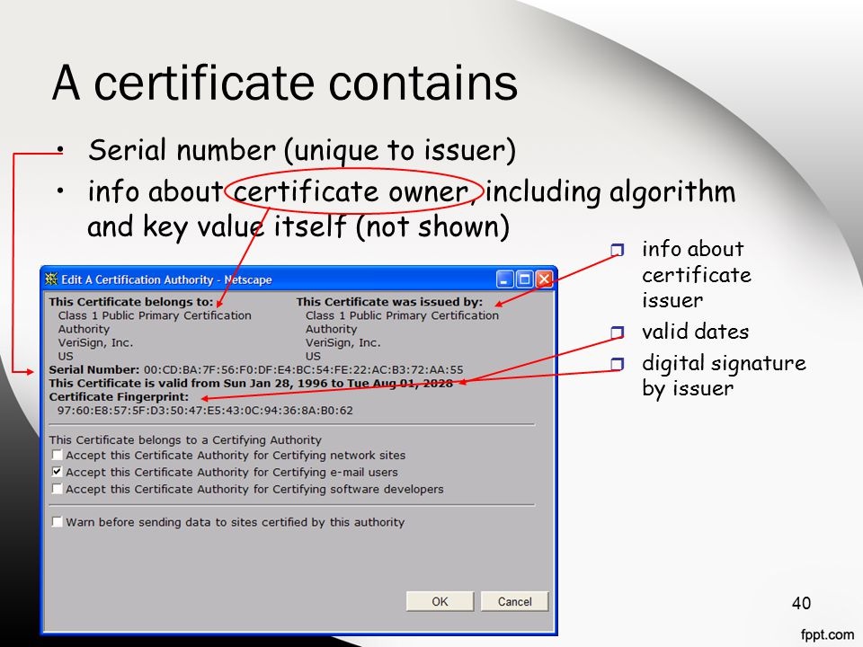 A certificate contains 40 Serial number (unique to issuer) info about certificate owner, including algorithm and key value itself (not shown) r info about certificate issuer r valid dates r digital signature by issuer