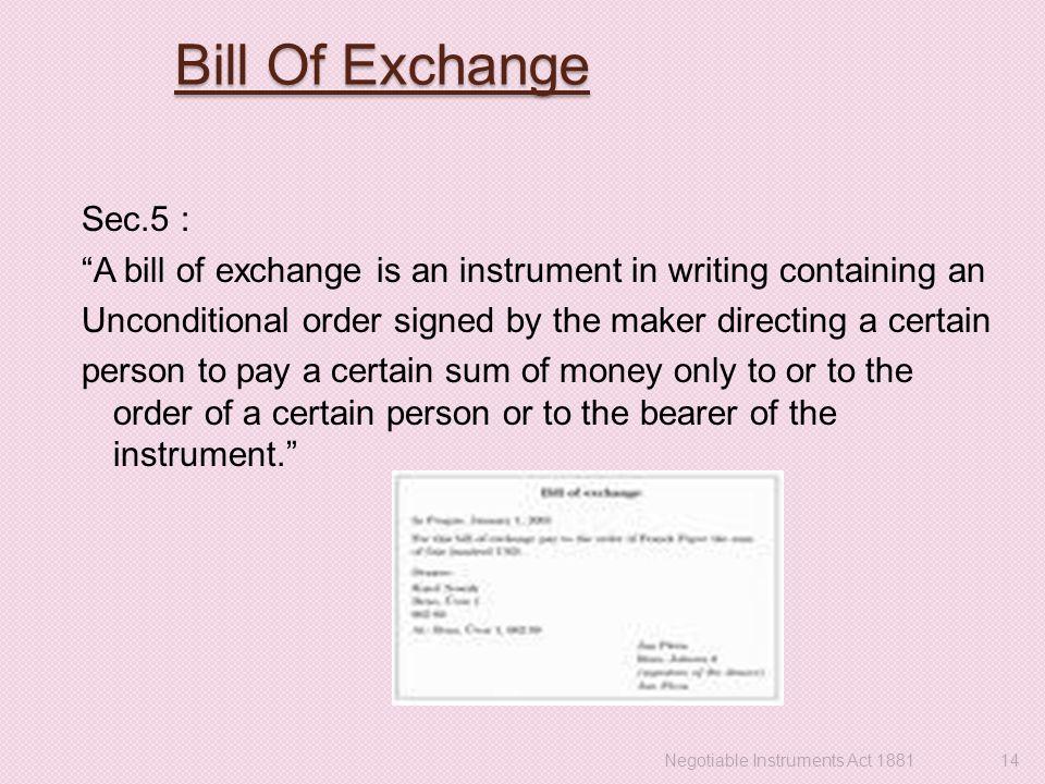 Negotiable instruments act 1881 negotiable instruments act 14 bill of exchange altavistaventures Gallery