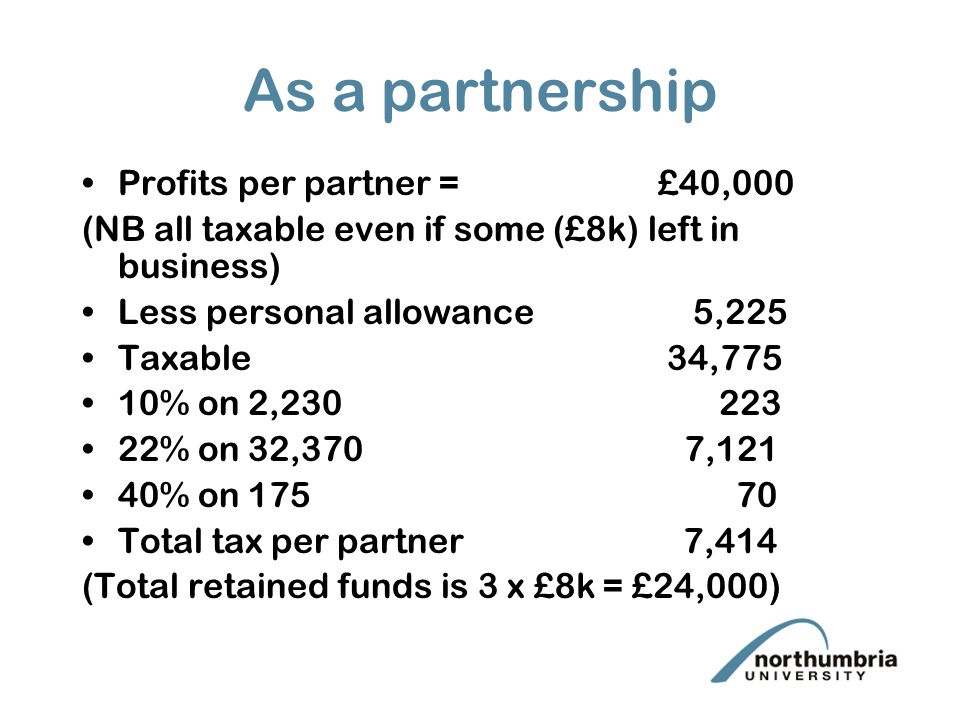 As a partnership Profits per partner = £40,000 (NB all taxable even if some (£8k) left in business) Less personal allowance 5,225 Taxable 34,775 10% on 2, % on 32,370 7,121 40% on Total tax per partner 7,414 (Total retained funds is 3 x £8k = £24,000)