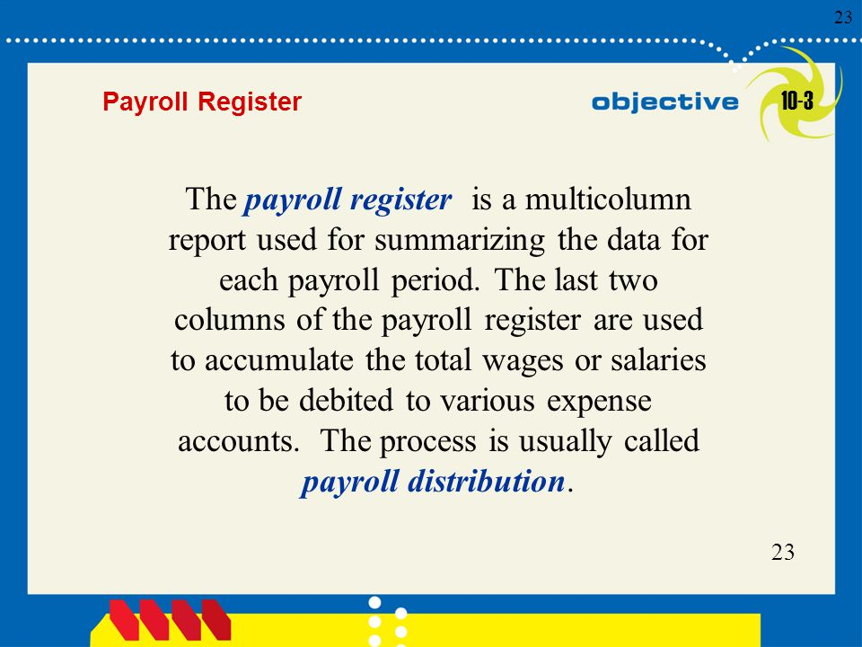 Click to edit Master title style 23 Payroll Register The payroll register is a multicolumn report used for summarizing the data for each payroll period.