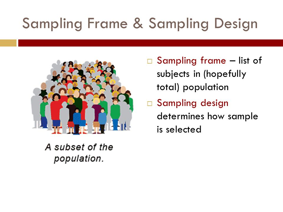 Sampling Frame & Sampling Design  Sampling frame – list of subjects in (hopefully total) population  Sampling design determines how sample is selected