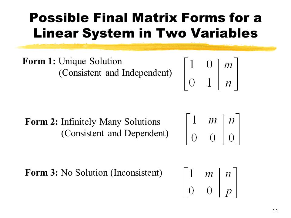 11 Possible Final Matrix Forms for a Linear System in Two Variables Form 1: Unique Solution (Consistent and Independent) Form 2: Infinitely Many Solutions (Consistent and Dependent) Form 3: No Solution (Inconsistent)