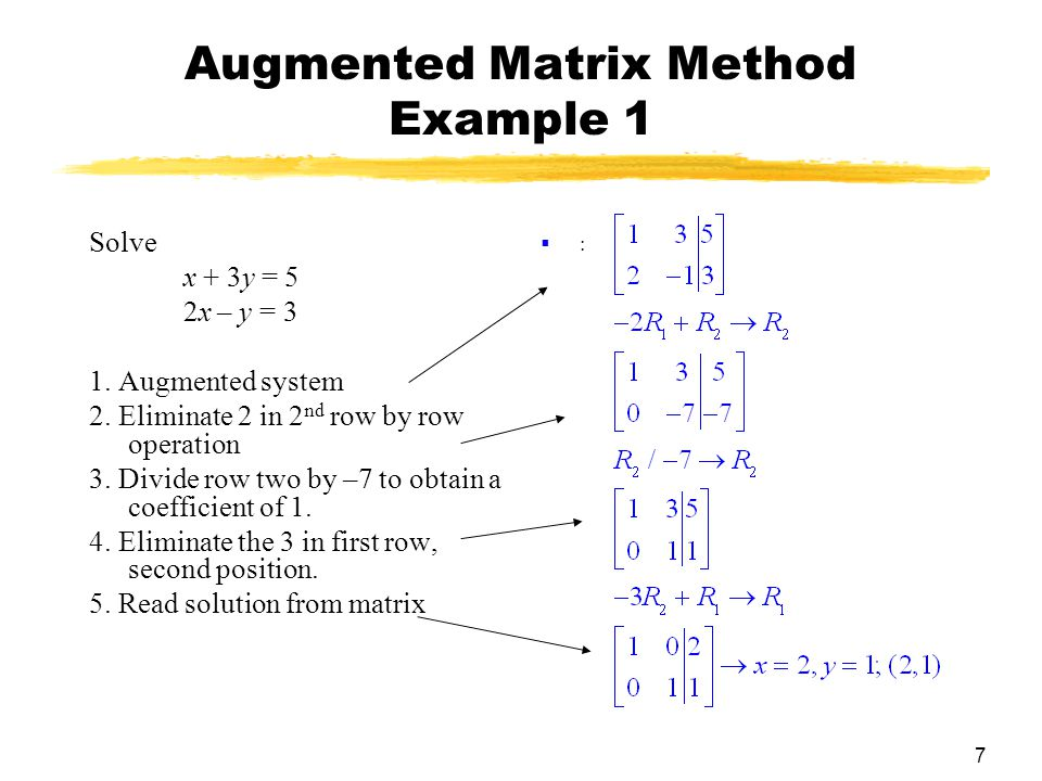 7 Augmented Matrix Method Example 1 Solve x + 3y = 5 2x – y = 3 1.