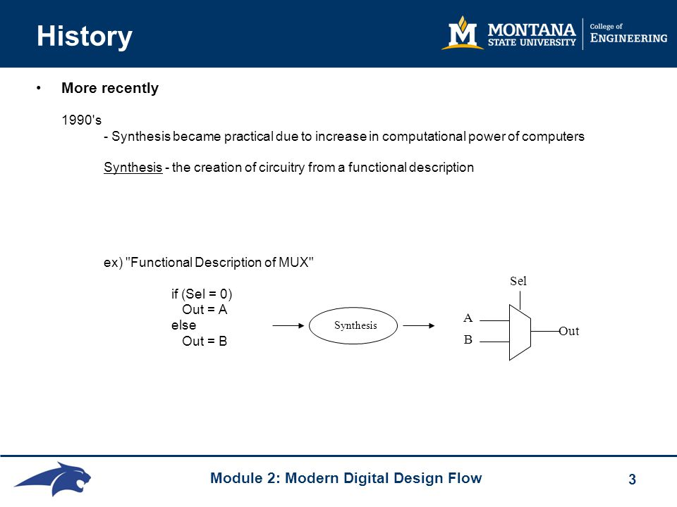 Module 2: Modern Digital Design Flow 3 History More recently 1990 s - Synthesis became practical due to increase in computational power of computers Synthesis - the creation of circuitry from a functional description ex) Functional Description of MUX if (Sel = 0) Out = A else Out = B Synthesis A B Out Sel