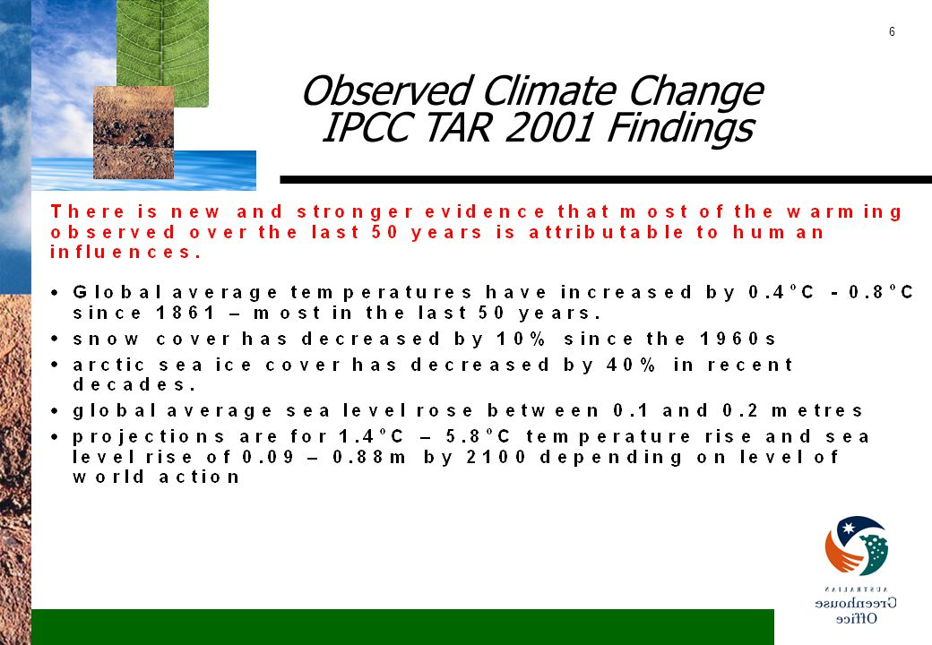 6 Observed Climate Change IPCC TAR 2001 Findings
