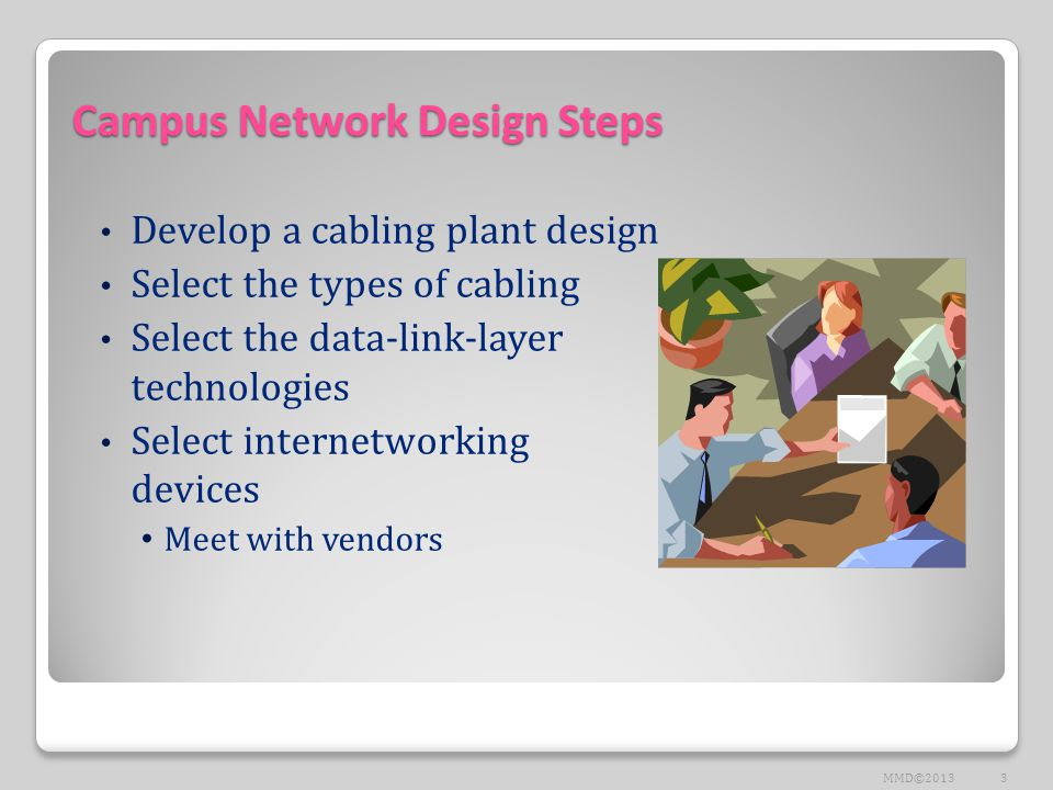 Campus Network Design Steps Develop a cabling plant design Select the types of cabling Select the data-link-layer technologies Select internetworking devices Meet with vendors 3MMD©2013