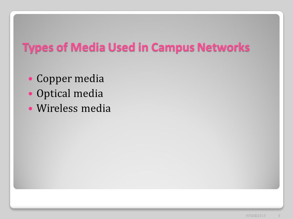 Types of Media Used in Campus Networks Copper media Optical media Wireless media 8MMD©2013