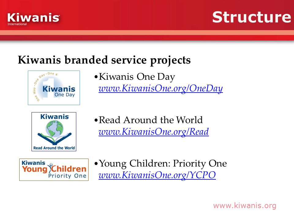 Kiwanis branded service projects Kiwanis One Day     Read Around the World     Young Children: Priority One