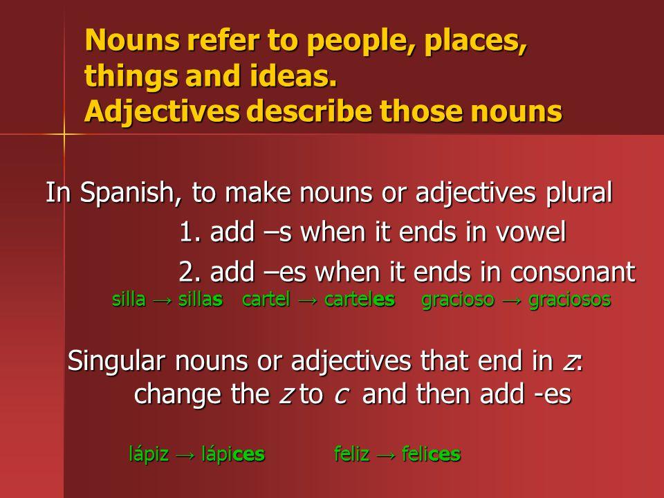La pluralización (making nouns/adjectives plural)  - ppt