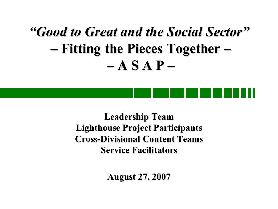 Good to great and the social sector fitting the pieces together 1 good to great and the social sector fandeluxe Gallery