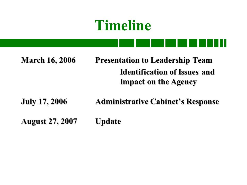 Good to great and the social sector fitting the pieces together 2 timeline march 16 2006presentation to leadership team identification of issues and impact on the agency july 17 2006administrative cabinets response fandeluxe Gallery