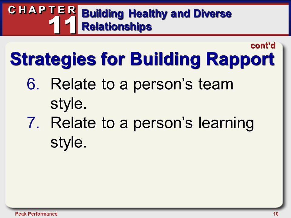 10Peak Performance C H A P T E R Building Healthy and Diverse Relationships 11 cont'd Strategies for Building Rapport 6.Relate to a person's team style.