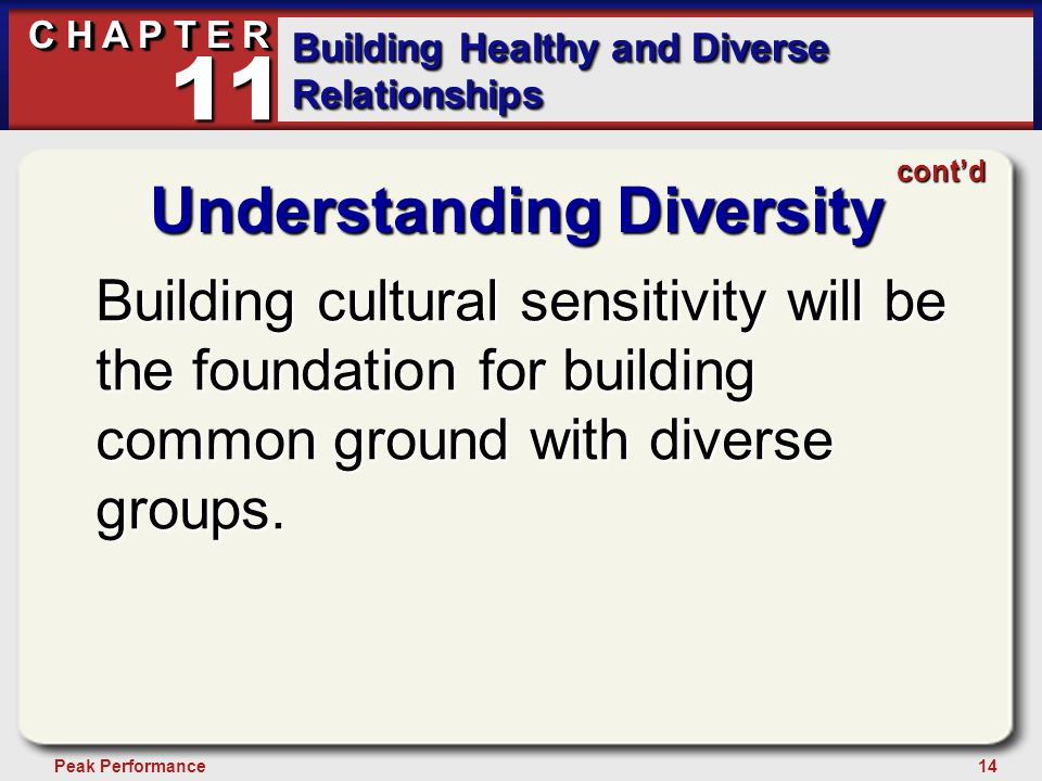 14Peak Performance C H A P T E R Building Healthy and Diverse Relationships 11 Understanding Diversity Building cultural sensitivity will be the foundation for building common ground with diverse groups.