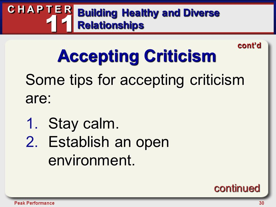 30Peak Performance C H A P T E R Building Healthy and Diverse Relationships 11 Accepting Criticism Some tips for accepting criticism are: 1.Stay calm.