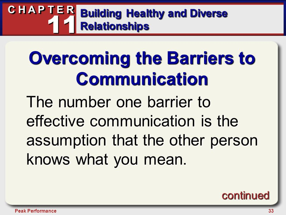 33Peak Performance C H A P T E R Building Healthy and Diverse Relationships 11 Overcoming the Barriers to Communication The number one barrier to effective communication is the assumption that the other person knows what you mean.