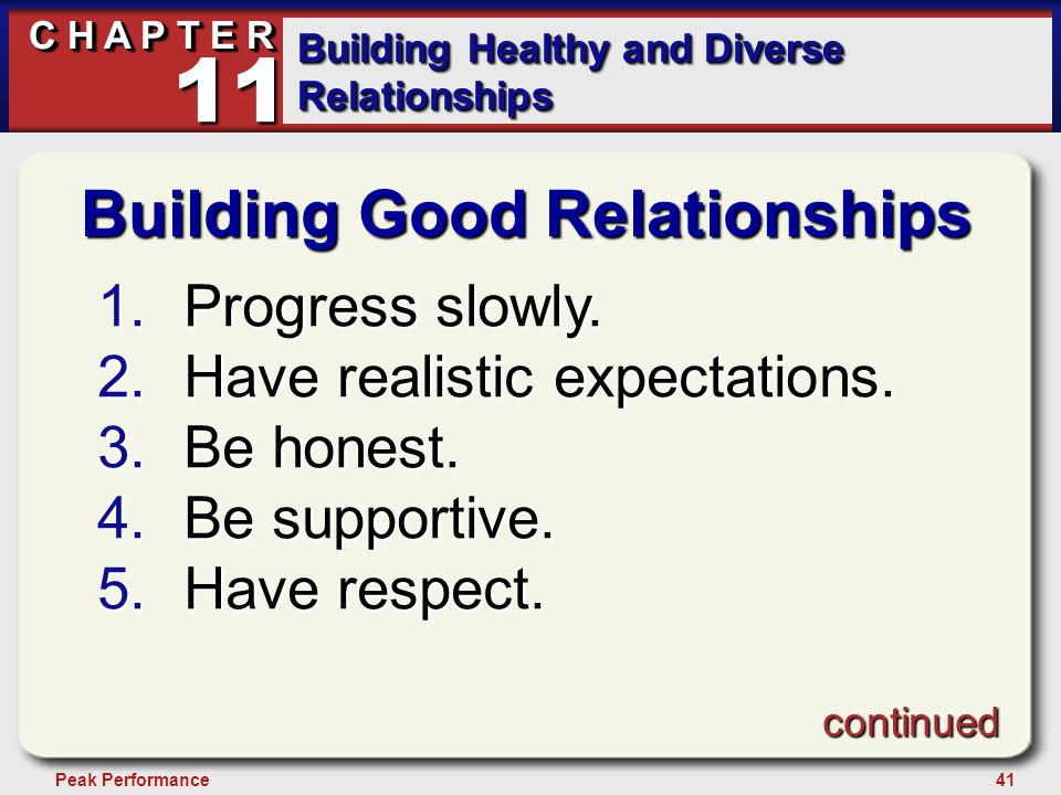 41Peak Performance C H A P T E R Building Healthy and Diverse Relationships 11 Building Good Relationships 1.Progress slowly.
