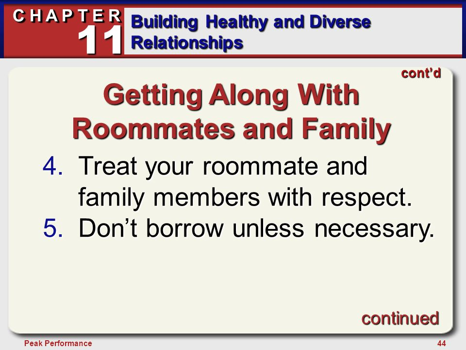 44Peak Performance C H A P T E R Building Healthy and Diverse Relationships 11 Getting Along With Roommates and Family 4.Treat your roommate and family members with respect.