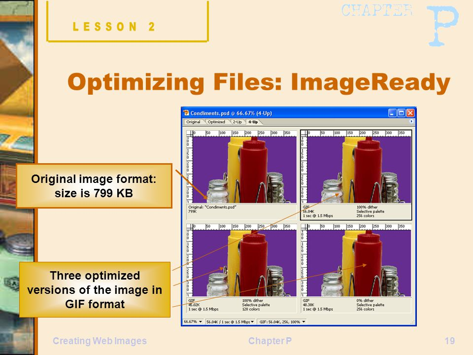Chapter P19Creating Web Images Optimizing Files: ImageReady Original image format: size is 799 KB Three optimized versions of the image in GIF format