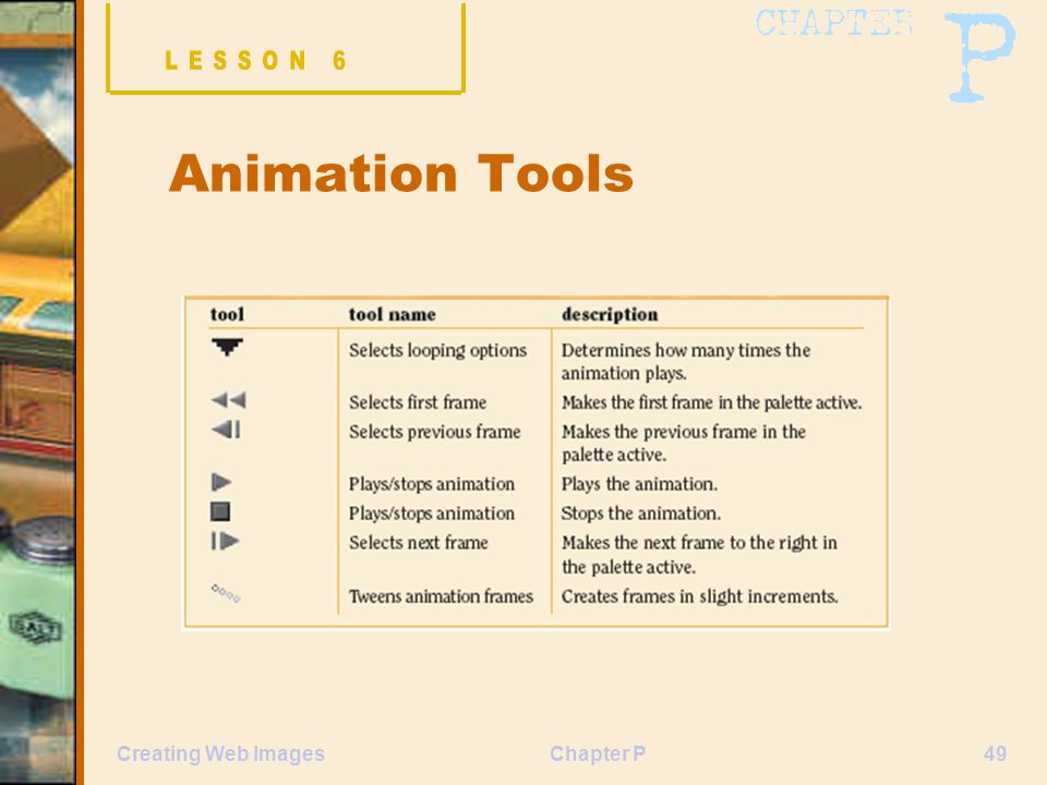 Chapter P49Creating Web Images Animation Tools