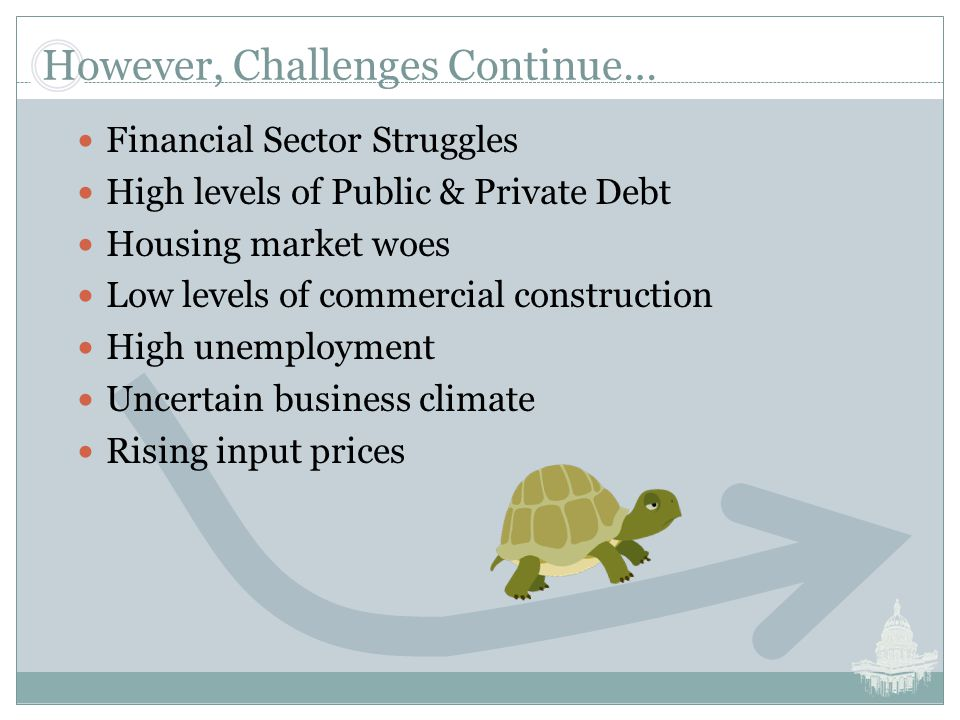 However, Challenges Continue… Financial Sector Struggles High levels of Public & Private Debt Housing market woes Low levels of commercial construction High unemployment Uncertain business climate Rising input prices