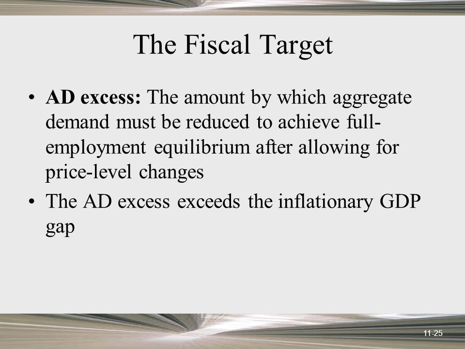11-25 The Fiscal Target AD excess: The amount by which aggregate demand must be reduced to achieve full- employment equilibrium after allowing for price-level changes The AD excess exceeds the inflationary GDP gap