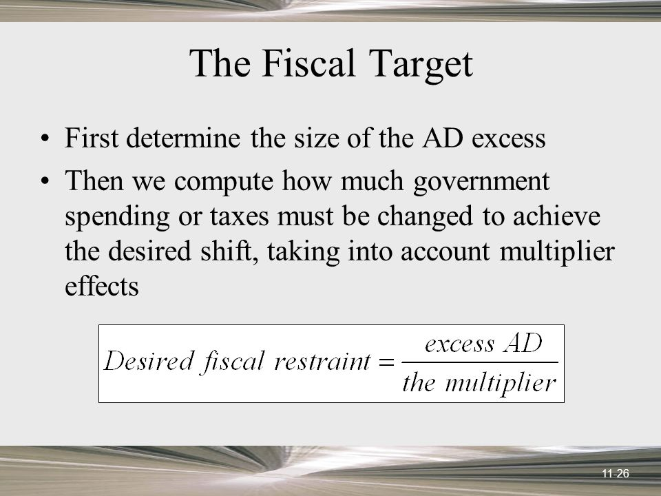 11-26 The Fiscal Target First determine the size of the AD excess Then we compute how much government spending or taxes must be changed to achieve the desired shift, taking into account multiplier effects
