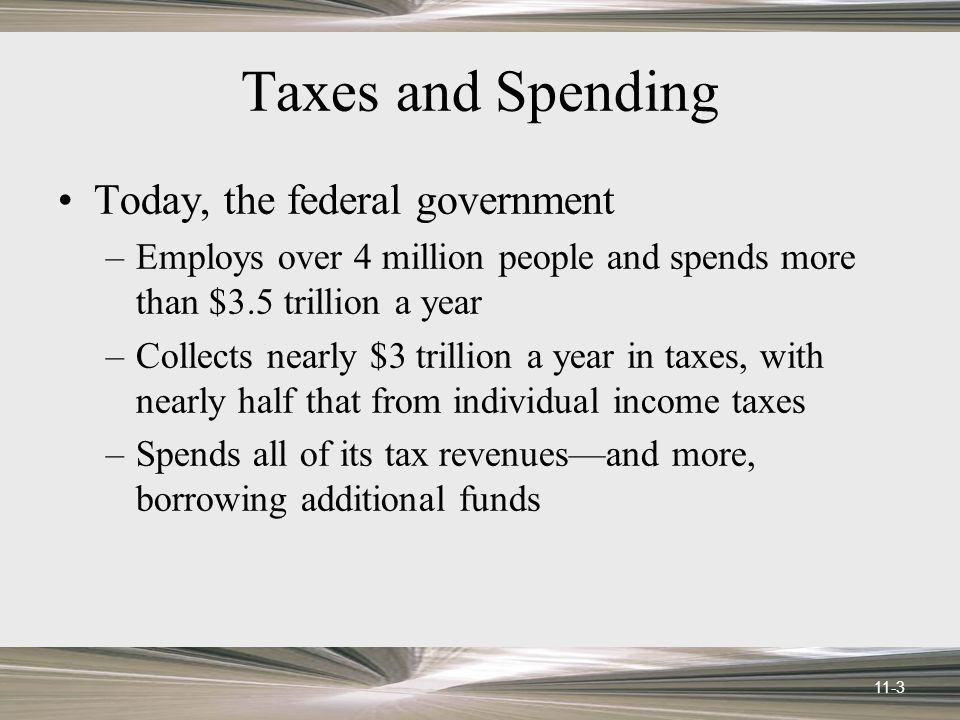 11-3 Taxes and Spending Today, the federal government –Employs over 4 million people and spends more than $3.5 trillion a year –Collects nearly $3 trillion a year in taxes, with nearly half that from individual income taxes –Spends all of its tax revenues—and more, borrowing additional funds