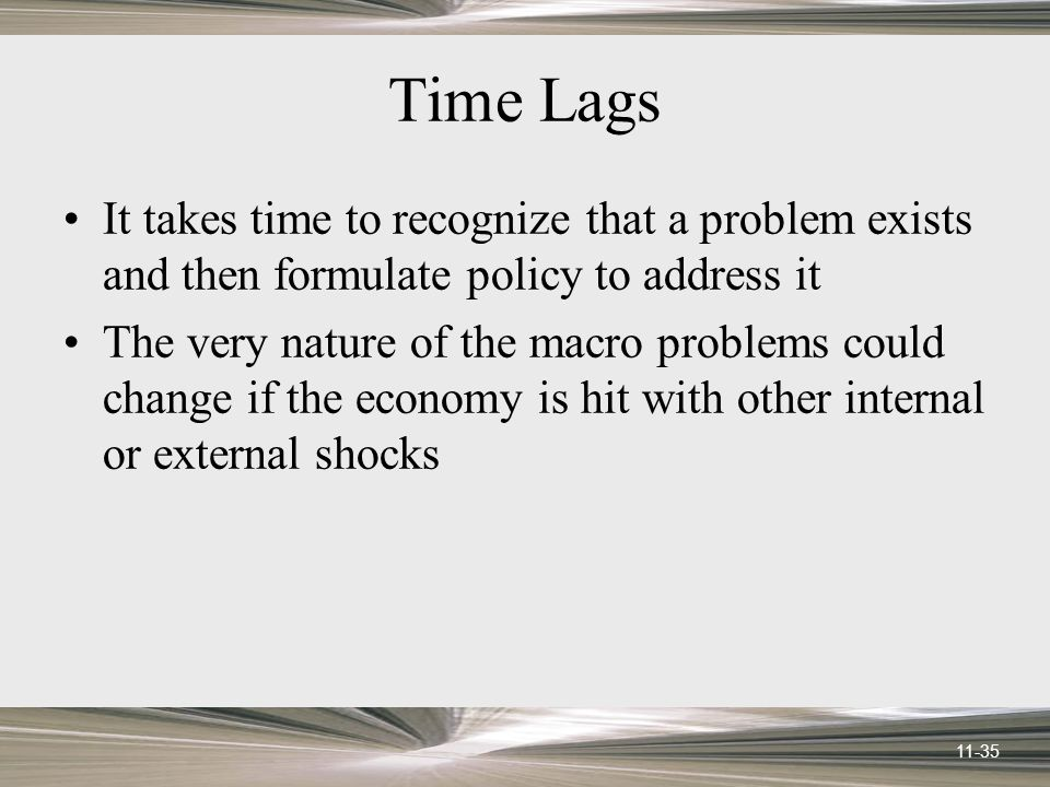 11-35 Time Lags It takes time to recognize that a problem exists and then formulate policy to address it The very nature of the macro problems could change if the economy is hit with other internal or external shocks