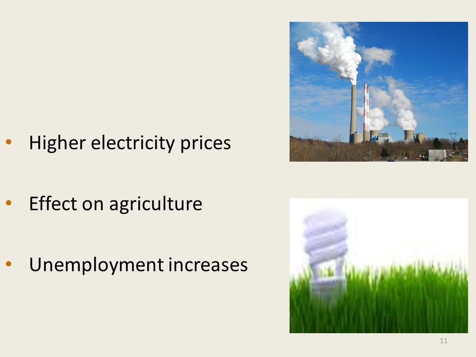 Higher electricity prices Effect on agriculture Unemployment increases 11